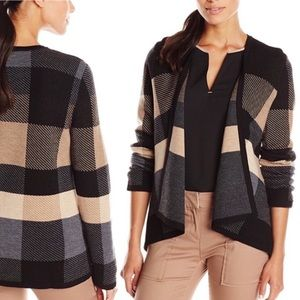 Pendleton Plaid Check Open-Front Cardigan Sweater
